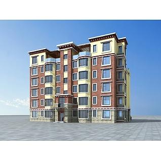藏式小区住宅楼3d模型