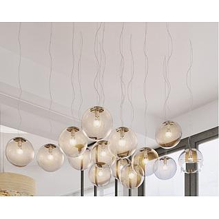 创意玻璃球吊灯3d模型