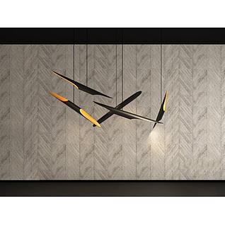 现代客厅厨房吊灯3d模型