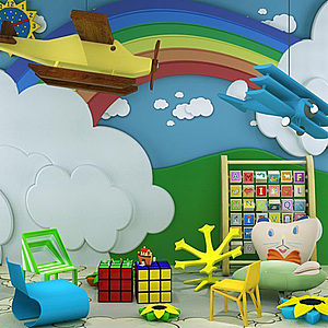 幼儿园云朵彩虹背景墙玩具组合模型