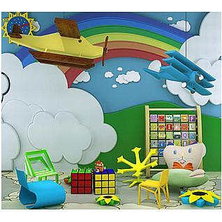 幼儿园云朵彩虹背景墙玩具组合3d模型