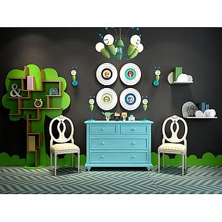 儿童屋树形储物柜蜜蜂吊灯组合3d模型