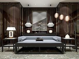 新中式沙发边几灯笼落地灯组合模型