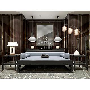 新中式沙发边几灯笼落地灯组合3d模型