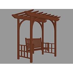 木质花园廊架3D模型3d模型
