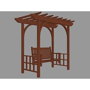 木质花园廊架3d模型
