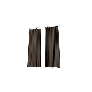 卧室棕色两扇窗帘3d模型