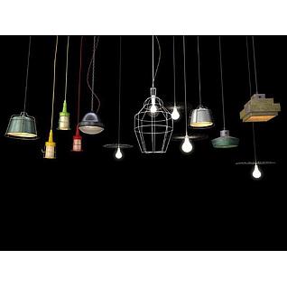 loft工业吊灯组合3d模型