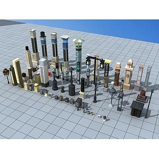 室外景观小品灯具3d模型