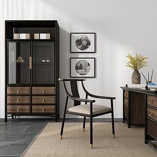 中式书桌椅书柜组合3d模型