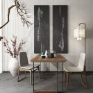现代中式餐桌椅落地灯组合模型