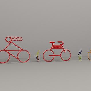 创意自行车回型针摆件3d模型
