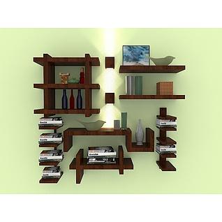 墙壁格子书架3d模型