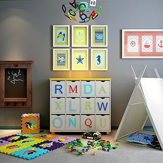 儿童字母柜子<font class='myIsRed'>帐篷</font>组合3d模型