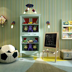 男孩房足球沙发玩具柜组合模型