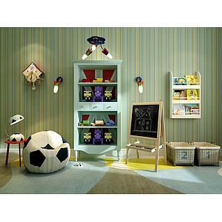男孩房足球沙发玩具柜组合3d模型