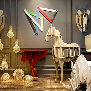 创意犀牛书架置物架组合模型