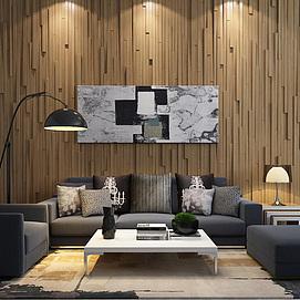木质造形墙沙发茶几组合模型