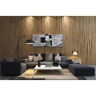 木质造形墙沙发茶几组合3d模型