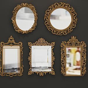 欧式雕花镜子组合模型