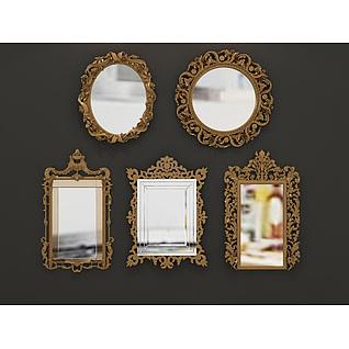 欧式雕花镜子组合3d模型