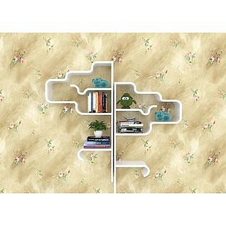 客厅墙饰书架3d模型