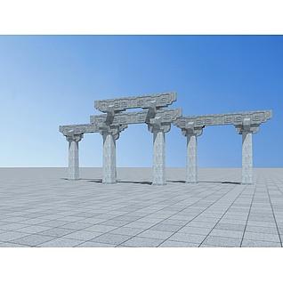 景观牌坊3d模型