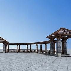 木质廊亭3D模型3d模型