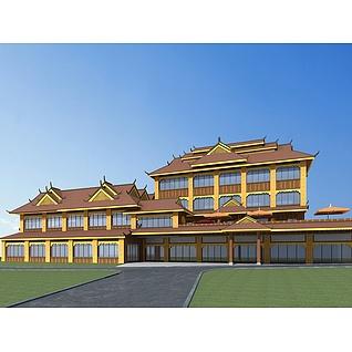 傣族酒店3d模型