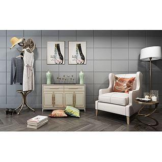 古典衣帽架边柜沙发组合3d模型