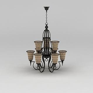 客厅复古吊灯3d模型3d模型