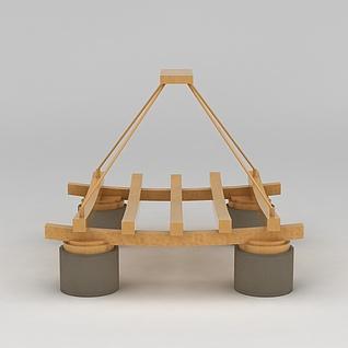 田园风木质吊灯3d模型3d模型