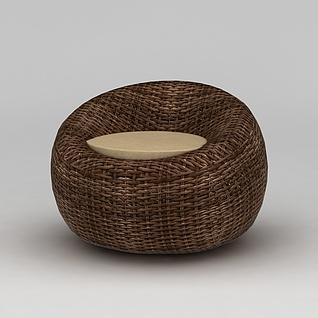 休闲圆形编藤沙发3d模型3d模型