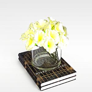 3d<font class='myIsRed'>書</font>和玻璃杯花模型