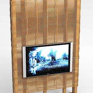 原木电视背景墙模型
