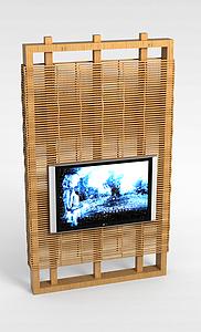 原木电视背景墙模型3d模型