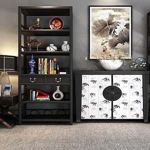 新中式博古架裝飾柜組合模型3d模型