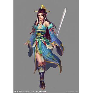 武侠女3d模型