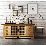 原木柜子高脚椅工艺摆件组合3D模型3d模型