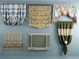 布艺折叠窗帘模型