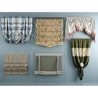 布艺折叠窗帘3d模型