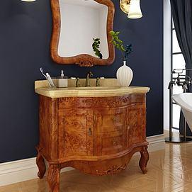 高档实木雕花浴室柜模型