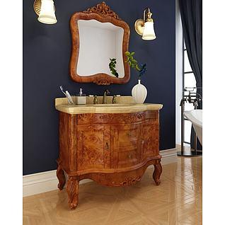 高档实木雕花浴室柜3d模型