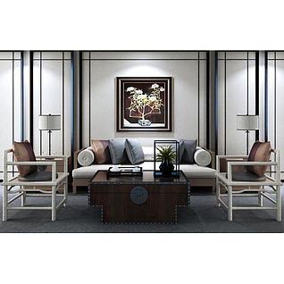 中式沙发椅子复古茶几组合3d模型