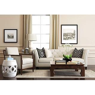 美式沙发椅子镂空凳子组合3d模型