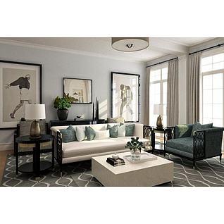 新古典沙发茶几组合3d模型