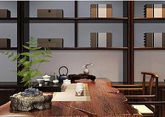 中式古典书桌椅陈设品组合模型3d模型