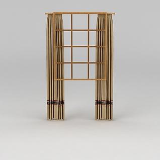 驼色窗帘3d模型