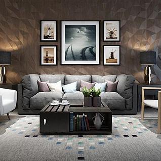 休闲沙发茶几椅子组合3d模型