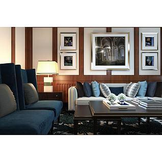 现代时尚简约沙发茶几组合3d模型